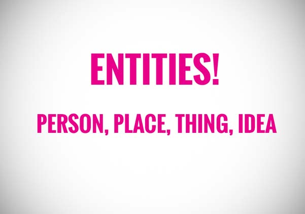 Entities! person, place, things, or idea