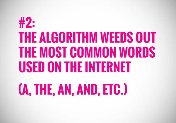 The algorithm weeds out the most common used words on the internet
