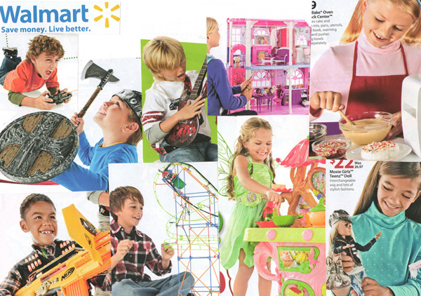 Walmart ad featuring stereotypical boys and girls toys